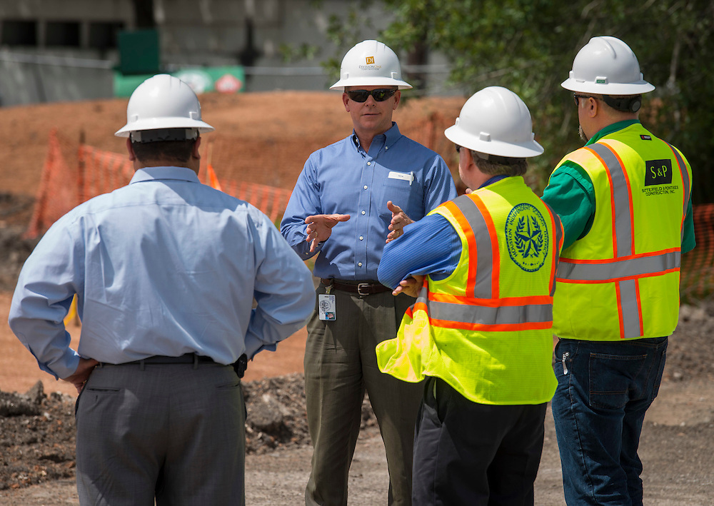 Houston ISD trustee Harvin Moore surveys the construction at the Mandarin Chinese Language Immersion Magnet School, April 20, 2015.