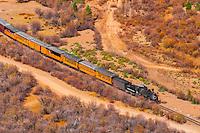Durango and Silverton Narrow Gauge Railroad train departing Silverton, Colorado USA.