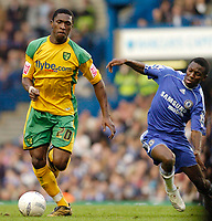 Photo: Leigh Quinnell.<br /> Chelsea v Norwich City. The FA Cup. 17/02/2007.<br /> Norwichs' Dickson Etuhu comes under attack from Chelseas Shaun Wright-Phillips.