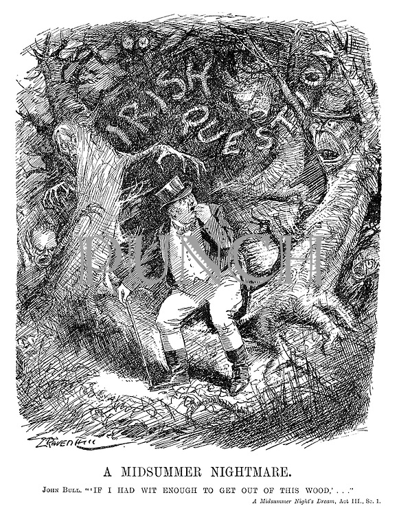"A Midsummer Nightmare. John Bull. ""'If I had wit enough to get out of this wood,'..."" A Midsummer Night's Dream, Act III, Sc.1. (cartoon showing John Bull trying to escape the frightening Irish Question forest in the InterWar era)"