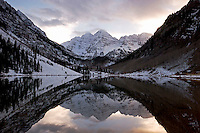 Maroon Bells Reflection in Maroon Lake at Sunset, Maroon - Snowmass Wilderness, Colorado