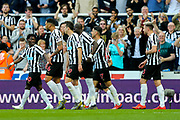 Ayoze Perez (#17) of Newcastle United celebrates Newcastle United's third goal (3-1) with Newcastle team mates during the Premier League match between Newcastle United and Southampton at St. James's Park, Newcastle, England on 20 April 2019.