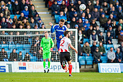 Gillingham FC defender Max Ehmer (5) and Sunderland forward Will Grigg (22) during the EFL Sky Bet League 1 match between Gillingham and Sunderland at the MEMS Priestfield Stadium, Gillingham, England on 7 December 2019.