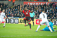 Football - 2016 / 2017 Premier League - Swansea City vs. AFC Bournemouth<br /> <br />  Benik Afobe of Bournemouth  scores his team's first goal---, at the Liberty Stadium.<br /> <br /> COLORSPORT/WINSTON BYNORTH