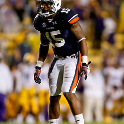 Sep 21, 2013; Baton Rouge, LA, USA; Auburn Tigers defensive back Joshua Holsey (15) against the LSU Tigers during the second half of a game at Tiger Stadium. LSU defeated Auburn 35-21. Mandatory Credit: Derick E. Hingle-USA TODAY Sports