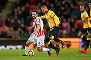 Stoke City midfielder Joe Allen (4)  with the ball during the Premier League match between Stoke City and Watford at the Britannia Stadium, Stoke-on-Trent, England on 3 January 2017. Photo by Simon Davies.