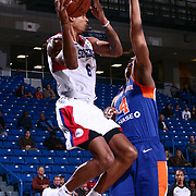 Delaware 87ers Forward DEVIN ROBINSON (6) drive to the basket in the first half of a NBA G-league regular season basketball game between the Delaware 87ers and the Westchester Knicks (New York Knicks) Tuesday, Nov. 07, 2017, at The Bob Carpenter Sports Convocation Center in Newark, DEL