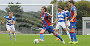 Andreas Breimyr looking to break through during the U21 Professional Development League match between U21 QPR and U21 Crystal Palace at the Loftus Road Stadium, London, England on 31 August 2015. Photo by Michael Hulf.