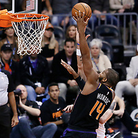 07 December 2017: Phoenix Suns center Greg Monroe (14) goes for the layup against Washington Wizards center Marcin Gortat (13) during the Washington Wizards 109-99 victory over the Phoenix Suns, at the Talking Stick Resort Arena, Phoenix, Arizona, USA.