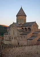 Svetitskhoveli Cathedral surronded by walls at sunset in the town of Mtskheta in Georgia