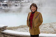 "Denise Rue-Pastin, director of the Water Information Program in southwestern Colorado stands for a portrait next to the thermal source or ""mother"" spring of the Great Pagosa Hotsprings along the San Juan River."