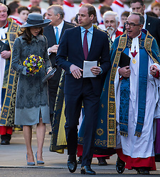 © Licensed to London News Pictures. 14/03/2016. London, UK. CATHERINE, Duchess of Cambridge and PRINCE WILLIAM leave Westminster Abbey in London after attending a service to mark Commonwealth Day 2016.  Photo credit: Ben Cawthra/LNP
