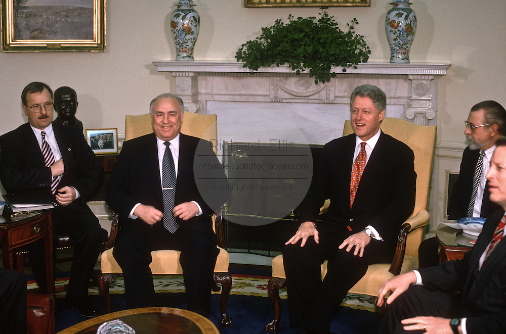 US President Bill Clinton with Russian Prime Minister Viktor Chernomyrdin in the Oval Office of the White House February 7, 1997 In Washington, DC.