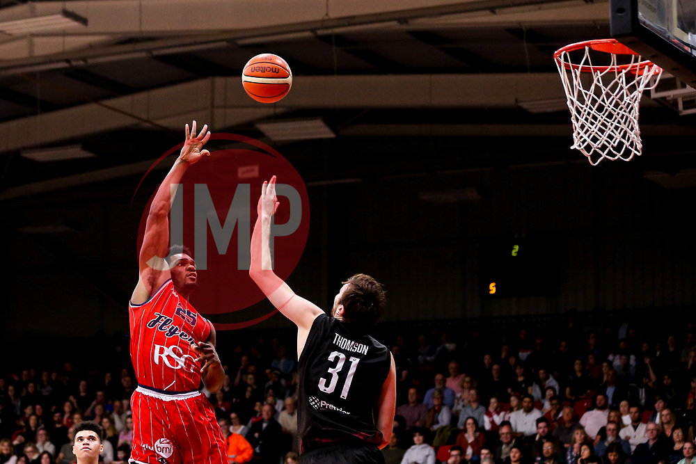 Marcus Delpeche of Bristol Flyers shoots - Photo mandatory by-line: Robbie Stephenson/JMP - 11/01/2019 - BASKETBALL - Leicester Sports Arena - Leicester, England - Leicester Riders v Bristol Flyers - British Basketball League Championship