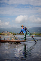 Traditional fishing on Inle Lake, Burma.