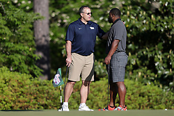 Pat Narduzzi talks to Mark Ingram during the Chick-fil-A Peach Bowl Challenge at the Oconee Golf Course at Reynolds Plantation, Sunday, May 1, 2018, in Greensboro, Georgia. (Marvin Gentry via Abell Images for Chick-fil-A Peach Bowl Challenge)