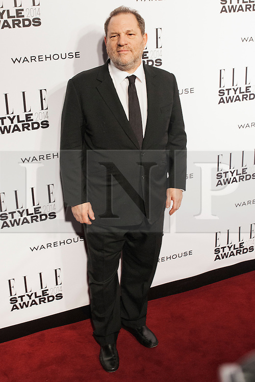 © Licensed to London News Pictures. 18/02/2014. London, UK. Harvey Weinstein arrives on the red carpet for the Elle Style Awards on the Embankment in central London. Photo credit : Andrea Baldo/LNP