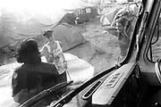 Scene of a female Punk through a van windscreen, Exodus Free Festival, Luton, 1997.