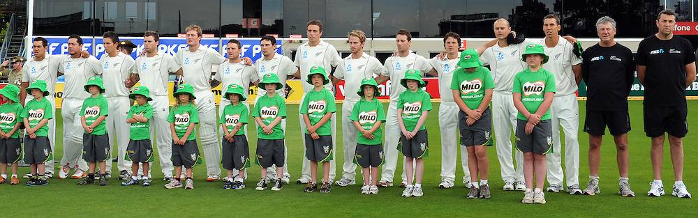 New Zealand Black Caps during the national anthem on Day 1 of the second cricket test between Australia and New Zealand Black Caps at Bellerive Oval in Hobart, Friday 9 December 2011. Photo: Andrew Cornaga/Photosport.co.nz