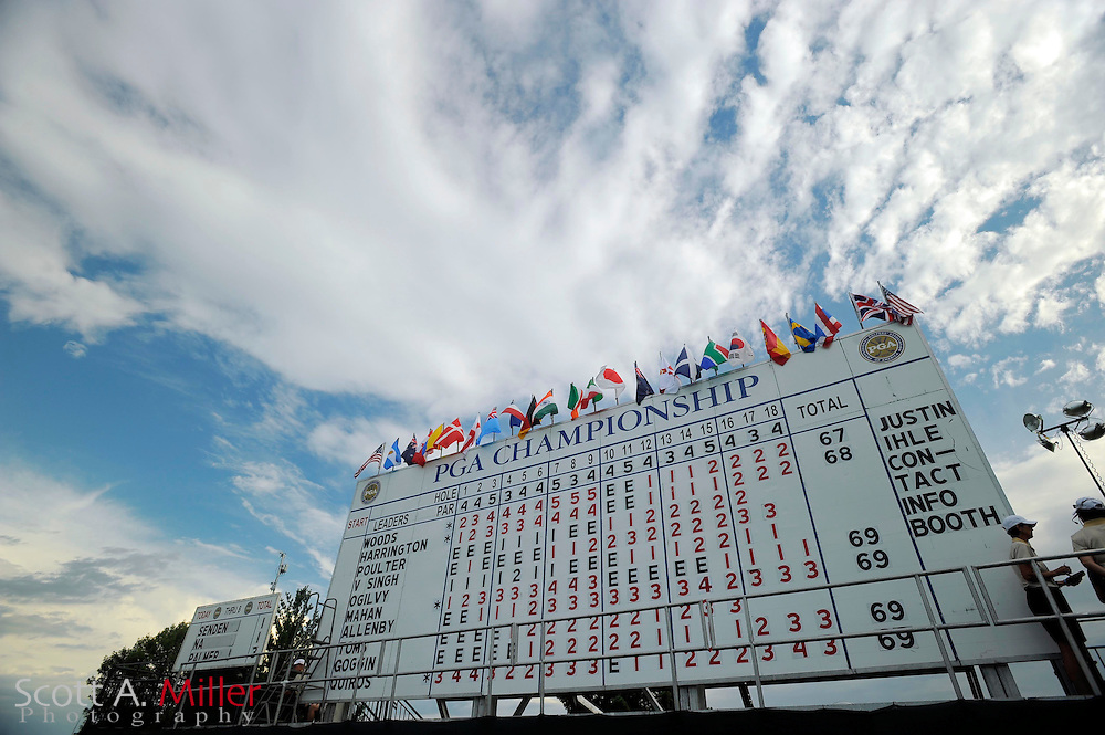 Aug 13, 2009; Chaska, MN, USA; A view of the leaderboard during the first round of the 2009 PGA Championship at Hazeltine National Golf Club.  ©2009 Scott A. Miller