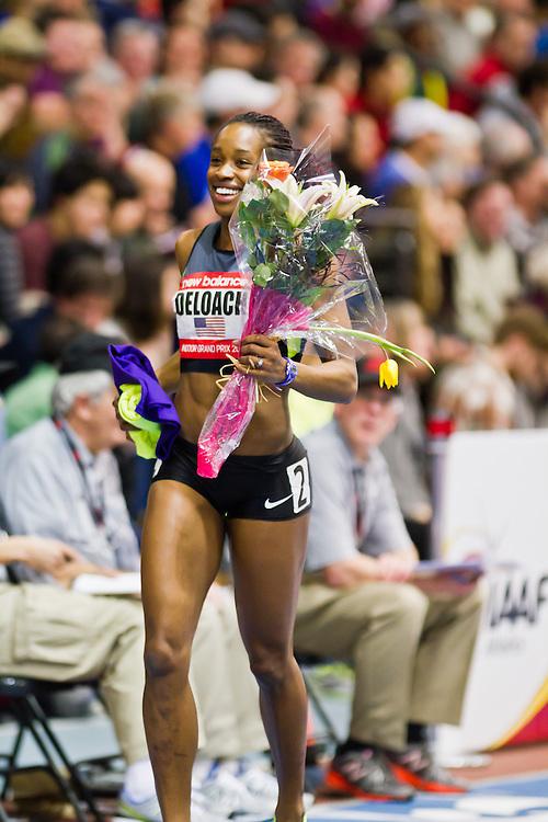 New Balance Indoor Grand Prix track meet: Janay Deloach victory lap wins Women's 60 meter hurdles