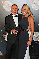 LONDON - SEPTEMBER 11: Bruce Forsyth; Tess Daly attended the Strictly Come Dancing Launch at the BBC Television Centre, London, UK. September 11, 2012. (Photo by Richard Goldschmidt)