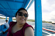 Caroline on the boat ride from Kalibo to Boracay, Philippines..Photo by Jason Doiy.6-12-08