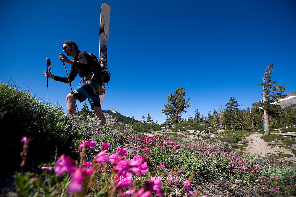 Brennan Lagasse passes wildflowers to find turns at Squaw Valley .