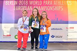 F41 Medalists.  From left Renata Sliwinska, POL, Silver, Niamh McCarthy, IRE, Gold, Lara Baars, NED, Bronze
