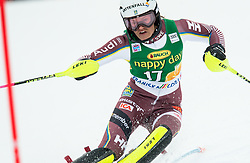 "Anna Swenn Larsson (SWE) in action during 1st Run of the FIS Alpine Ski World Cup 2017/18 7th Ladies' Slalom race named ""Golden Fox 2018"", on January 7, 2018 in Podkoren, Kranjska Gora, Slovenia. Photo by Ziga Zupan / Sportida"