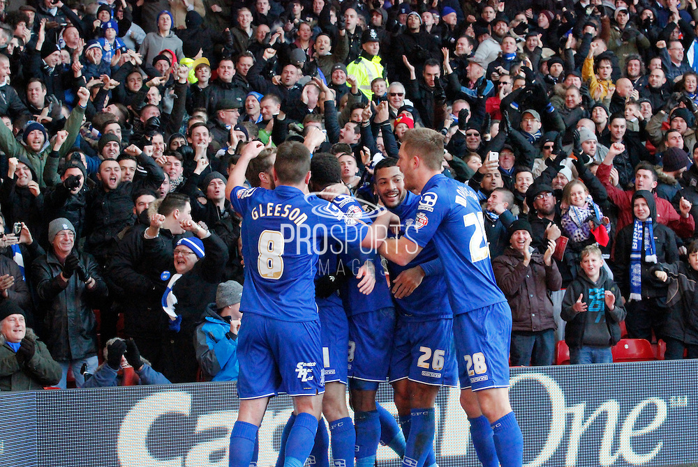 Birmingham celebrate David Cotterill's opening goal during the Sky Bet Championship match between Nottingham Forest and Birmingham City at the City Ground, Nottingham, England on 28 December 2014. Photo by Jodie Minter.
