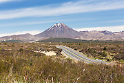 State Highway 1, this section known as the Desert Road, with Mount Ngauruhoe in the background