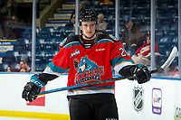 KELOWNA, BC - OCTOBER 12:  Jake Lee #21 of the Kelowna Rockets warms up on the ice against the Kamloops Blazers at Prospera Place on October 12, 2019 in Kelowna, Canada. (Photo by Marissa Baecker/Shoot the Breeze)