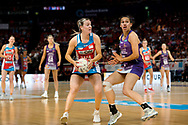 SYDNEY, AUSTRALIA - AUGUST 24: Natalie Haythornthwaite of the Swifts looks to pass the ball during the round 14 Super Netball match between the Swifts and the Queensland Firebirds at Qudos Bank Arena on August 24, 2019 in Sydney, Australia.(Photo by Speed Media/Icon Sportswire)