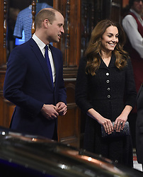 Catherine, Duchess of Cambridge and Prince William, Duke Of Cambridge are seen leaving the Noel Coward Theatre. Kate wore a black Eponine tweed dress, and William wore a navy blue suit. 25 Feb 2020 Pictured: Prince William, Duke Of Cambridge, Kate Middleton, Duchess Of Cambridge. Photo credit: Will / MEGA TheMegaAgency.com +1 888 505 6342