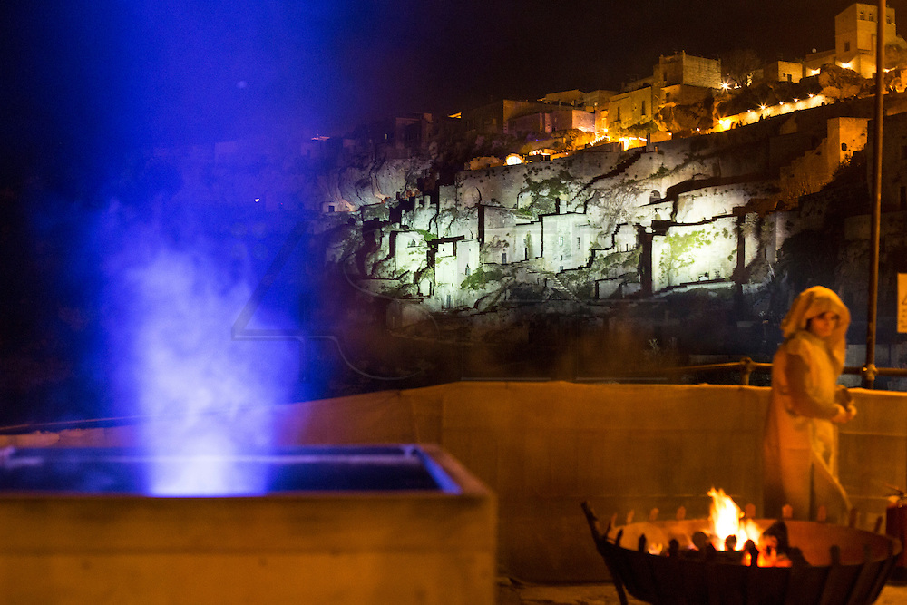 View of Sassi di Matera celebrating a living Nativity.