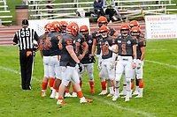 KELOWNA, BC - SEPTEMBER 22:  The Okanagan Sun huddle against the Valley Huskers at the Apple Bowl on September 22, 2019 in Kelowna, Canada. (Photo by Marissa Baecker/Shoot the Breeze)