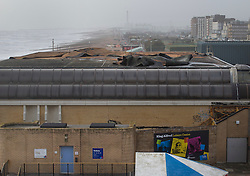 © Licensed to London News Pictures. 08/02/2016. Hove, UK.  Part of the roof of the King Alfred Leisure Centre at Hove was blown away by high winds as storm Imogen hit the south coast. Photo credit: Peter Macdiarmid/LNP
