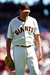 May 30, 2010; San Francisco, CA, USA;  San Francisco Giants relief pitcher Jeremy Affeldt (41) reacts after being relieved during the eighth inning against the Arizona Diamondbacks at AT&T Park.  San Francisco defeated Arizona 6-5 in 10 innings.