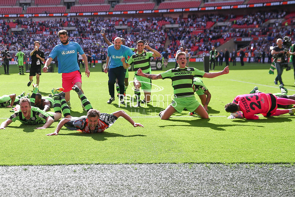 Forest Green Rovers Charlie Cooper(20) and the FGR players celebrate during the Vanarama National League Play Off Final match between Tranmere Rovers and Forest Green Rovers at Wembley Stadium, London, England on 14 May 2017. Photo by Shane Healey.