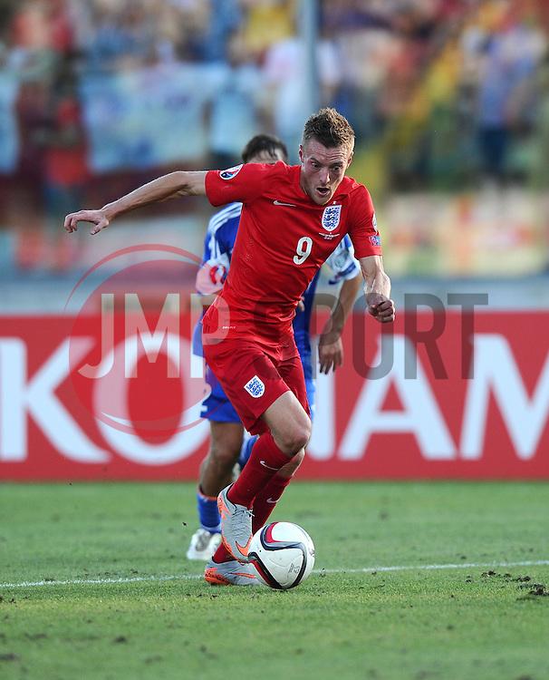 Jamie Vardy of England (Leicester City)  - Mandatory byline: Joe Meredith/JMP - 07966386802 - 05/09/2015 - FOOTBALL- INTERNATIONAL - San Marino Stadium - Serravalle - San Marino v England - UEFA EURO Qualifers Group Stage