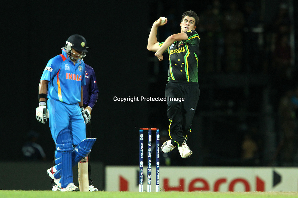 Pat Cummins bowls during the ICC World Twenty20 Super 8s match between Australia and India held at the Premadasa Stadium in Colombo, Sri Lanka on the 28th September 2012<br /> <br /> Photo by Ron Gaunt/SPORTZPICS