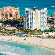 Aerial View of Punta Cancun and the Grand Krystal hotel.