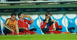 MARSEILLE, FRANCE - Tuesday, September 16, 2008: Liverpool's captain Steven Gerrard MBE and Fernando Torres back on the bench during the opening UEFA Champions League Group D match at the Stade Velodrome. (Photo by David Rawcliffe/Propaganda)