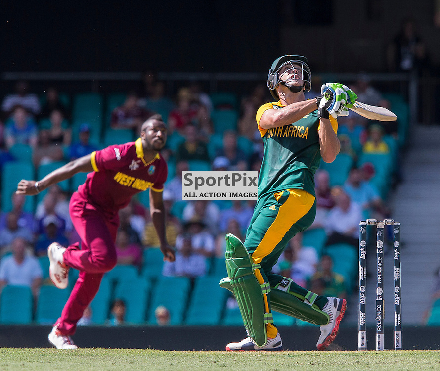 ICC Cricket World Cup 2015 Tournament Match, South Africa v West Indies, Sydney Cricket Ground; 27th February 2015<br /> South Africa&rsquo;s Francois Du Plessis skies a shot