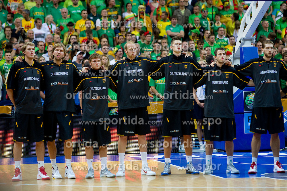 Players of Germany listening to the national anthemn during basketball game between National basketball teams of Lithuania and Germany at FIBA Europe Eurobasket Lithuania 2011, on September 11, 2011, in Siemens Arena,  Vilnius, Lithuania. (Photo by Vid Ponikvar / Sportida)