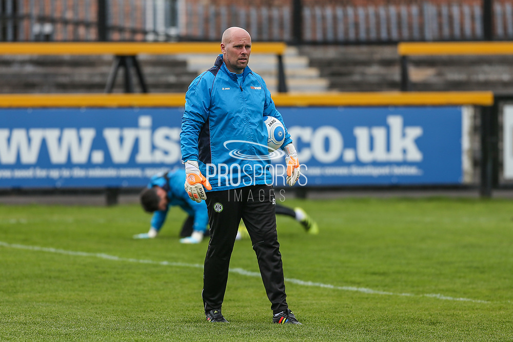 Forest Green Rovers goalkeeper coach Steve Hale during the Vanarama National League match between Southport and Forest Green Rovers at the Merseyrail Community Stadium, Southport, United Kingdom on 17 April 2017. Photo by Shane Healey.