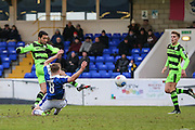 Forest Green Rovers Fabien Robert(26) shoots at goal shot is blocked during the FA Trophy 2nd round match between Chester FC and Forest Green Rovers at the Deva Stadium, Chester, United Kingdom on 14 January 2017. Photo by Shane Healey.