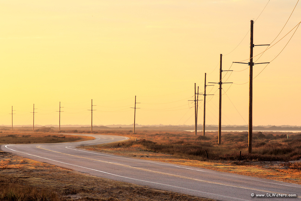 Early morning photograph of Highway 12 south of Oregon Inlet on the way to  Cape Hatteras.