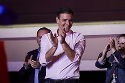 April 28, 2019 - Madrid, Spain - Prime Minister of Spain, Pedro Sanchez thanks supporters as they wave flags in the air outside of the PSOE (Spanish Socialist Workers's Party) headquarters in Madrid. Spaniards go to the polls to elect 350 members of the parliament and 208 senators this Sunday. This will be the 13th General Election since the transition to democracy resulting in the Constitution of 1978. There are five main parties: the two traditional parties are the right-wing Partido Popular (People's Party) and the centre-left Partido Socialista Obrero Espanol or PSOE (Spanish Socialist Workers's Party), along with right-wing parties Ciudadanos (Citizens) and VOX and the left wing party, Podemos  (Credit Image: © Legan P. Mace/SOPA Images via ZUMA Wire)